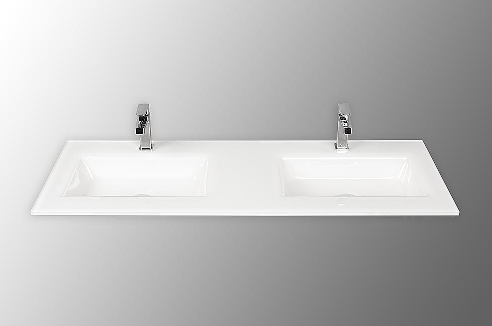 Holandia kantig 120cm tvättställ i glas