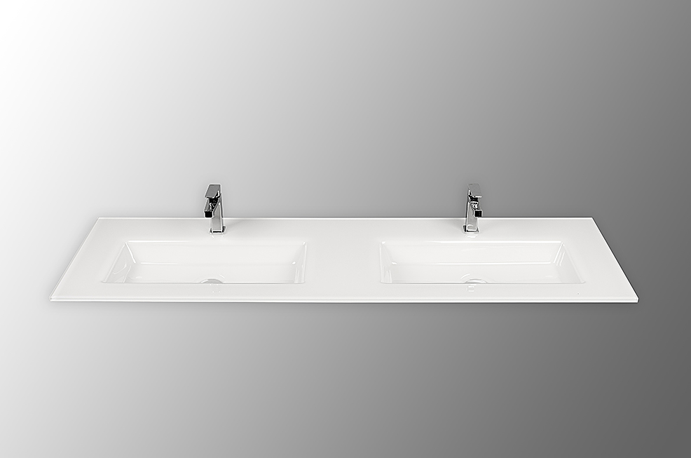 Holandia kantig 160cm tvättställ i glas