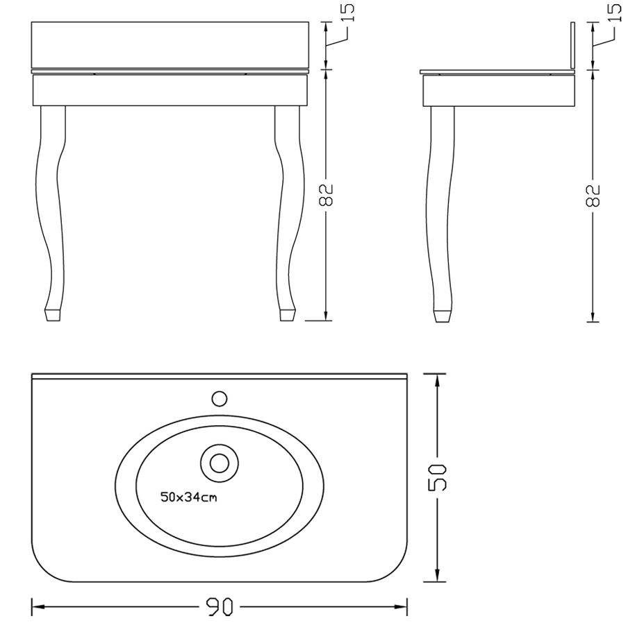 Retro tvättställ på rokokoben - ritning